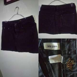 MNG Lizzy Black Denim Skirt