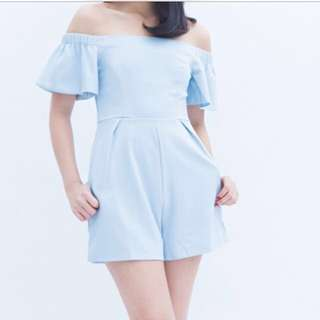 Pretty Off-Shoulder Romper Pastel Blue