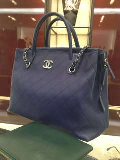 Chanel Navy Blue Shopping Tote