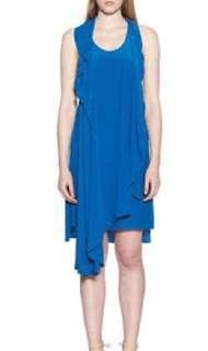 Aijek Frances drape dress in blue