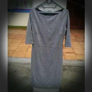 Dress Semi Formal Kotak Kotak