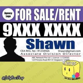 "Real Estate Agent ""FOR SALE/RENT"" PVC Banner - Perfect for Outdoor or Indoor displays 