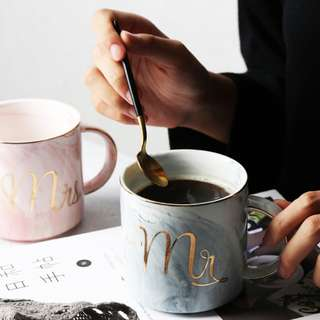 Scandinavian Marble Mr & Mrs Couple Mug