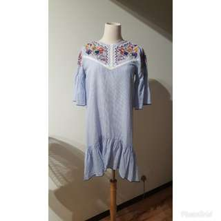 ZARA BLUE EMBROIDERED TUNIC