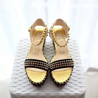 LOUBIE Madmonica Wedges Shoes 60mm Black - Gold sz 38