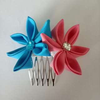 Blue & red Flower Jepun Hair accessories