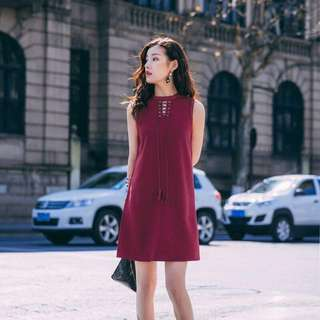 Long Maroon Shoelace sleeveless Dress; formal office meeting dinner smart casual; matured female woman women ladies lady girls;