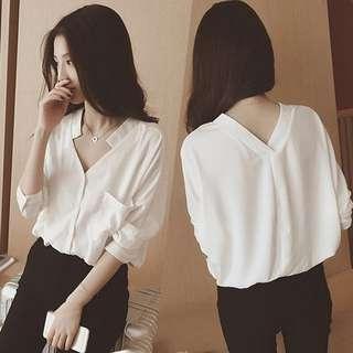 V-neck chiffon blouse shirt teeshirt tshirt; white orange monochrome; Kpop Korean wave kwave cute sweet trendy fashionable jpop; woman female girls ladies lady women; top