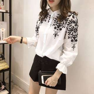 Embroidered Chiffon Blouse; flowery pattern design; white black shirt Long sleeve; Korean kpop kwave wave trend jpop; fashionable stylish cute; woman women female girls ladies lady