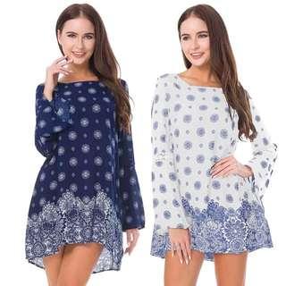 (M~2XL) 2018 Bohemian cotton snow printed dress