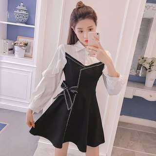 White black cocktail dress with ribbon; Long sleeve; kpop kwave Korean wave jpop fashionable cute sweet; female ladies lady girl woman women; work casual smart formal