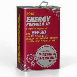 MANNOL ENERGY FORMULA JP 5W30 SYNTHETIC ENGINE OIL (4L)