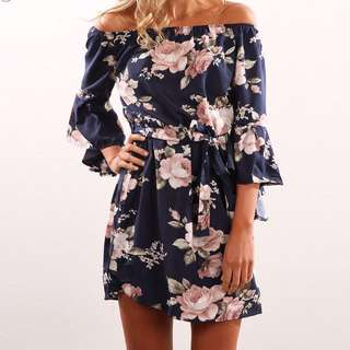 Floral off shoulder dress flare sleeves; Love sleeves: woman women ladies female girl; formal casual sweet trendy