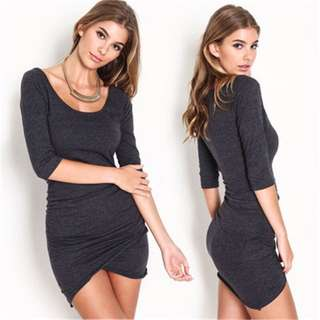 Padded Bodycon Dress Grey Mini; casual tight fitting sexy hot shirt shorts; female woman girl teenager women youth adult ;