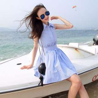 Blue sleeveless Stripe Dress; flair Pom Pom bottom; kpop jpop Korean wave trendy fashionable cute sweet; work office formal events; woman female women girls ladies lady