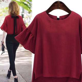 Maroon Blouse Shirt Top Flare puffy Sleeves; Korean kpop jpop classy elegant matured office wear trendy fashion; woman women ladies girl female; monochrome maroon