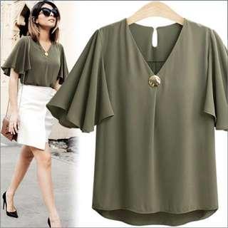 Blouse formal casual shirt top; Korean kpop jpop trendy stylish elegant classy; female girls ladies woman women; black green monochrome; puffy sleeve