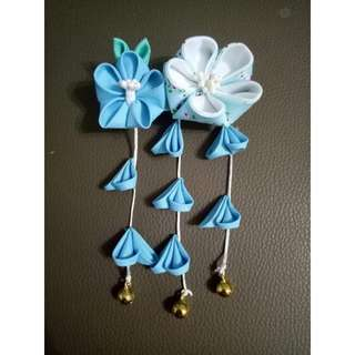 Double Blue Flower Jepun hair accessories