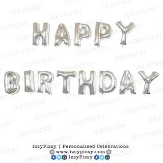 Happy Birthday Alphabet Foil Balloon Set (16 inch silver)