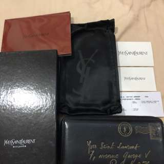 YSL mail wallet patent black