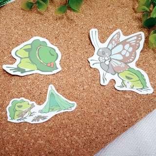 Tabikaeru Journey Frog Luggage Stickers Set B (3 in 1)
