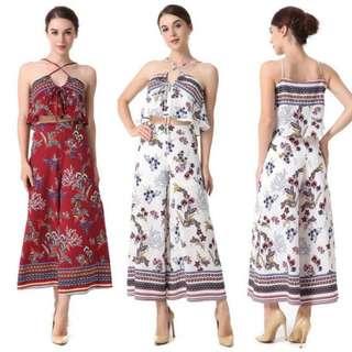 Crisscross Halter Neck Floral Vocation Women Suits