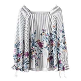 European and American style flower printing collar hedging loose shirt