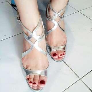 Silver Beauty Heels Double Belt