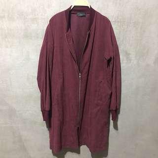「二手實拍」韓國製酒紅色絨面長版飛行員外套