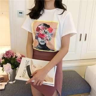 夏季粉色花朵人物印花短袖T恤百搭上衣-2色
