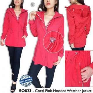 S OLIVER Coral Pink Hooded Weather Jacket