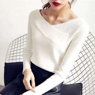 Knitted Cross-Cross White Top