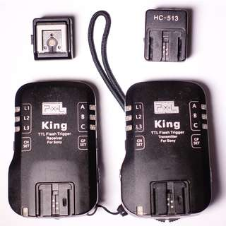 Pixel King TTL Flash Trigger set for Sony A6000/A7 etc. (with adaptors for the new MIS hotshoe)