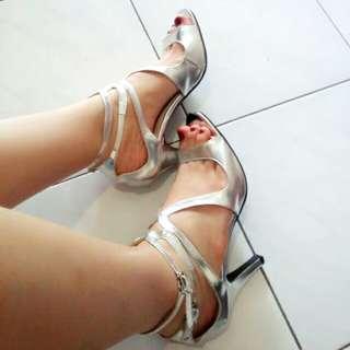 Silver Double Belt Beauty Heels