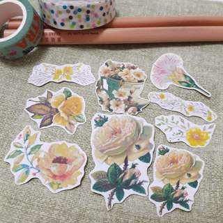 Yellow vintage flowers stickers