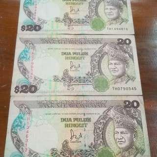 MALAYSIA RM20 6th Series Last Prefix TH