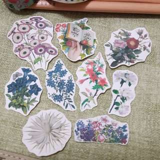 Vintage flowers stickers