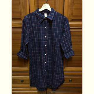 ⋮深藍⨯橘 格紋長版襯衫⋮