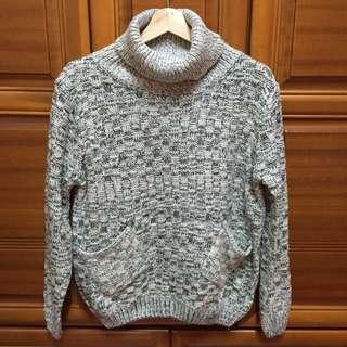 ⋮灰⨯白混色高領毛衣⋮