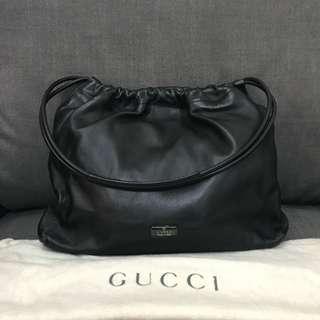 Gucci shoulder bag black soft leather vintage