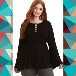 Plus Size Sassy Butterfly Sleeve Blouse