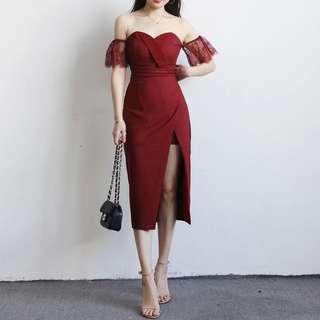 Shoulder off maroon dress