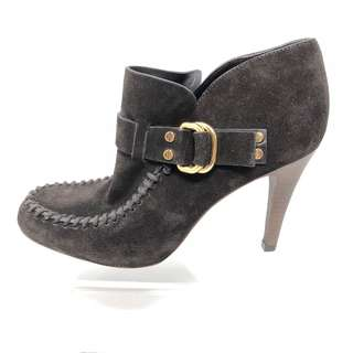 Tory Burch Dark Brown Suede Ankle Boots with Gold Accents - Womens Sz. 9.5