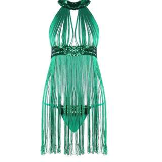 Exotic sexy green fringed babydoll lingerie