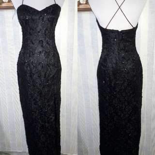 Black Sequenced Evening Gown
