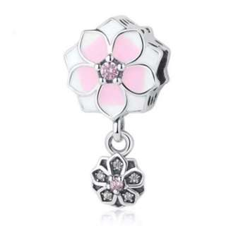 Pink Flower Dangle Charm