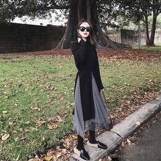 小香風長版針織上衣高腰百搭紗裙兩件式套裝