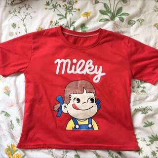 CUTE MILKY PEKO GIRL CROP TSHIRT