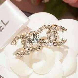 Gold Diamond Like Crystal Earrings Ear Studs