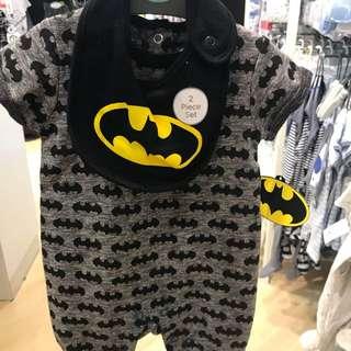 PRIMARK BABY BOY BATMAN LONG PANTS ROMPER WITH BATMAN BIP